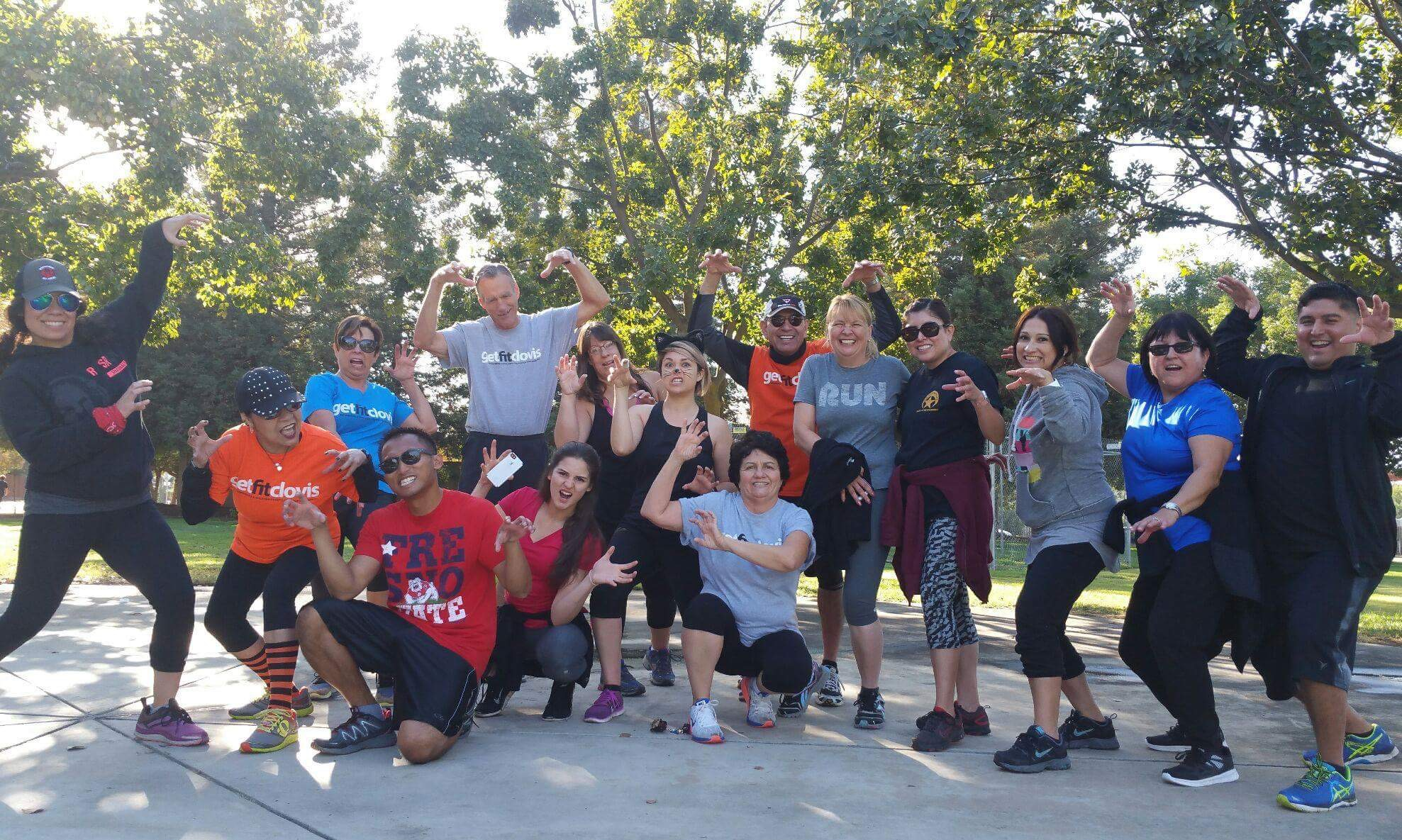 Get Fit Clovis' team posing with A.J. Lacuesta (red Fresno State shirt) after their 'Thriller' dance routine. [Photo by Anna Moore]